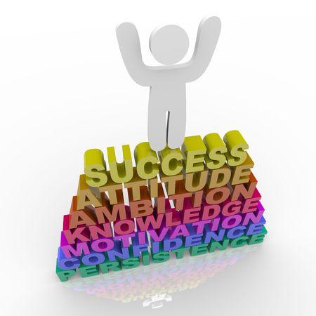 A person stands atop words symbolizing success, attitude, ambition, knowledge, motivation, confidence and persistence Foto de archivo