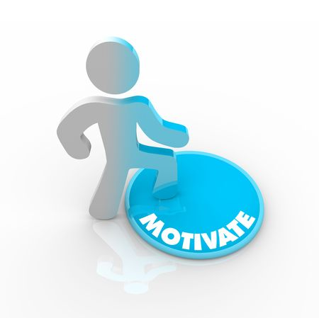 A person stands onto a button marked Motivate and his color transforms to symbolize his evolution Stock Photo - 6231363