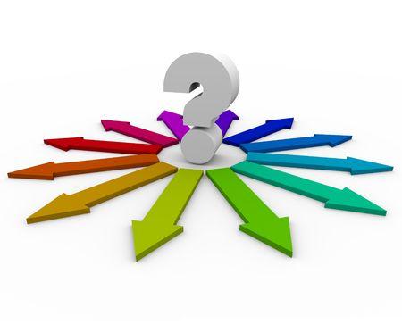 Een vraag teken in het midden van de vele kleurige pijlen vertegenwoordigen verschillende antwoorden