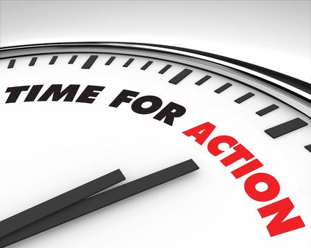 encouraging: White clock with words Time for Action on its face Stock Photo