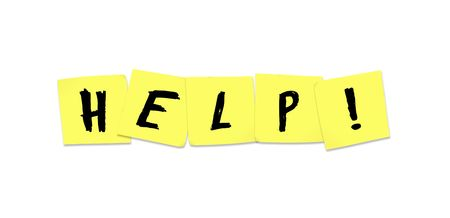 sticky note: The word Help written on yellow sticky notes Stock Photo