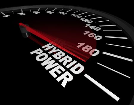 mph: A speedometer with red needle pointing to the words Hybrid Power