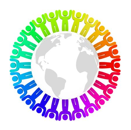 People of many colors stand with arms up around the Earth Stock Photo - 6245253