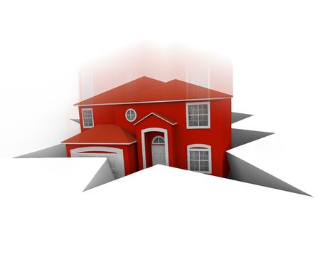 foreclosed: A red house falls into a hole, symbolizing foreclosure or bankruptcy Stock Photo