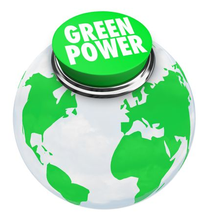 alternative living: A button with words Green Power on the Earth