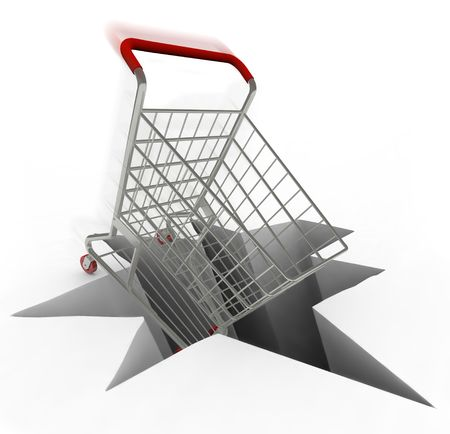 emergency cart: A shopping cart plunges into a hole, symbolizing a drop in retail sales and a bad economy