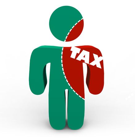 A person with a portion marked to cut out of him symbolizing the pain of taxes Stock Photo - 6296739