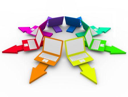 Muchos ordenadores portátiles en diferentes colores en flechas que simboliza el trabajo en red y las opciones Foto de archivo - 6296740