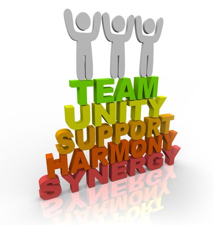 harmonize: Three team members stand on the words Team, Unity, Support, Harmony and Synergy