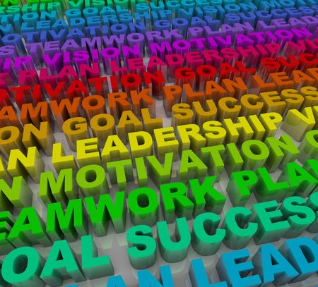 principles: Many words representing principles of success in colorful lettering Stock Photo