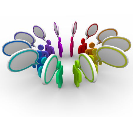 A network of people stand in a circle sharing information in speech bubbles