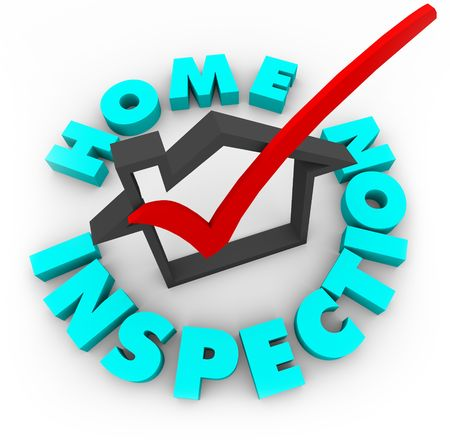 inspecting: A red check mark in a house box, surrounded by the words Home Inspection Stock Photo