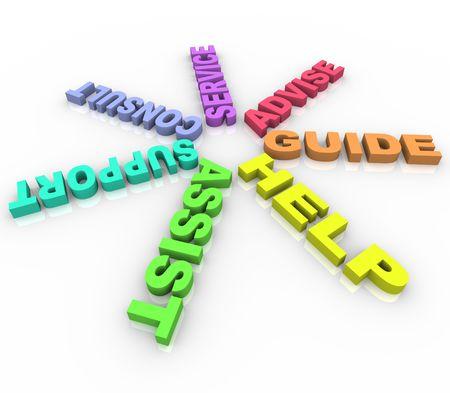 Varias palabras tales como ayuda y asistencia en forma de anillo