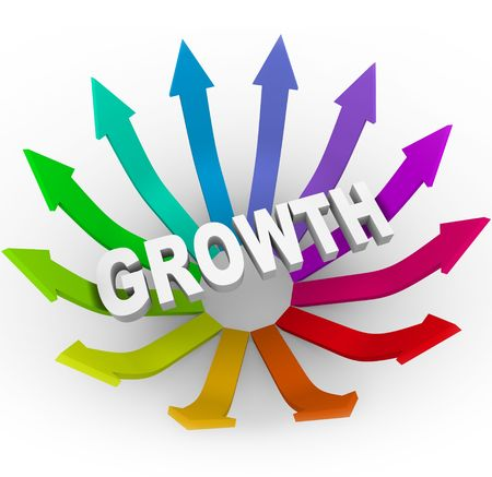 The word Growth surrounded by many colorful arrows photo