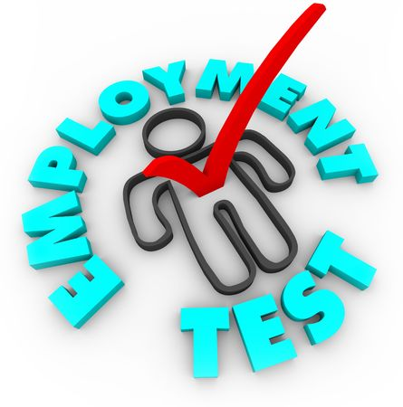 A red check mark in a box in the shape of a person, surrounded by the words Employment Test photo