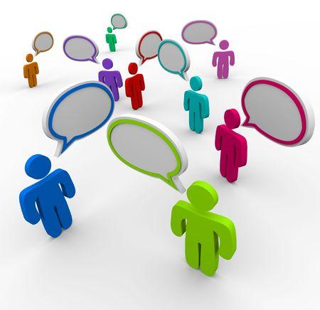 socializando: Muchas personas hablando al mismo tiempo en comunicaci�n desorganizada, confundido Foto de archivo