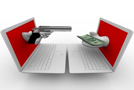 online privacy: A hand emerging from a laptop computer screen aims a gun at another computer while a hand from the other holds money.