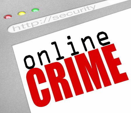 international internet: A webstie screen with the words Online Crime as a warning Stock Photo