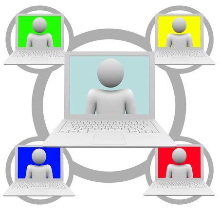Una cuadrícula de red social de computadoras portátiles blanco  Foto de archivo - 6462984