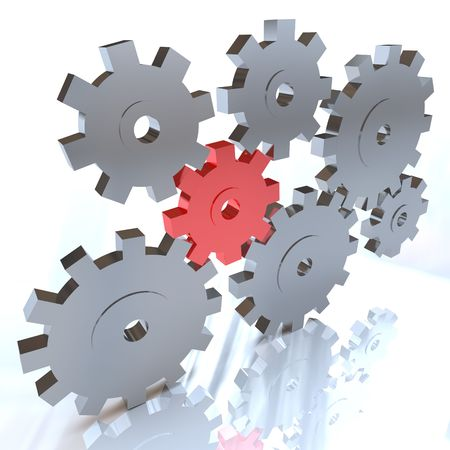 cogs: Many gears working together, with one standing out in red