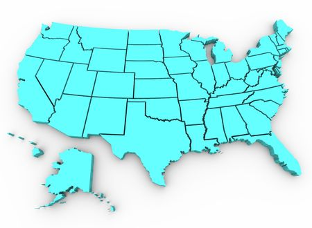 map of the united states: A blue 3d rendering of a United States map
