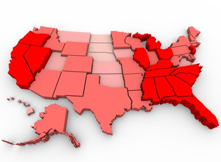 job market: A United States map showing unemployment rates by state, with red being highest percentage of joblessness