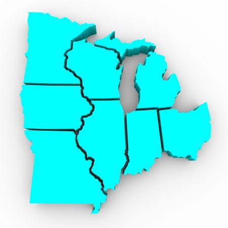 wisconsin: A 3d map of the Great Lakes region of states: Michigan, Ohio, Indiana, Illinois, Minnesota, Wisconsin, Iowa and Missouri Stock Photo