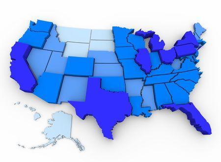 진한 파란색의 인구 밀도가 가장 높은 미국인과 미국에서 가장 밝은 파란색으로 채워진 3 차원지도, 2000 US Census의 데이터