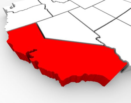 A 3d rendered map of the state of California