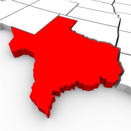 Een 3d gesmolten kaart van de staat Texas Stockfoto