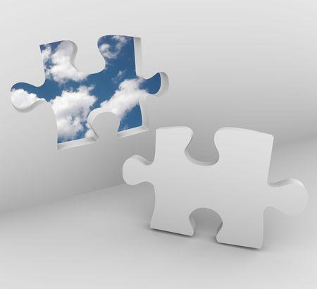 puzzelen: Opent een stukje van de puzzel in een muur aan de blauwe hemel met wolken