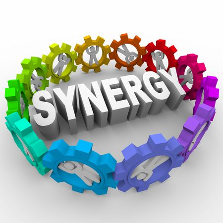 diverse business team: The word Synergy surrounded by people in gears Stock Photo