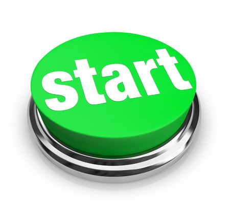 easy: A green button with the word Start on it Stock Photo