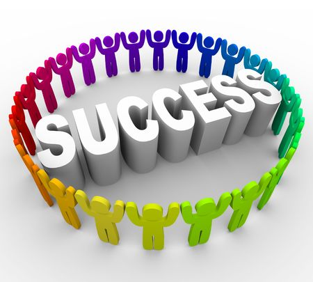 thrive: Many people of different colors surround the word Success Stock Photo
