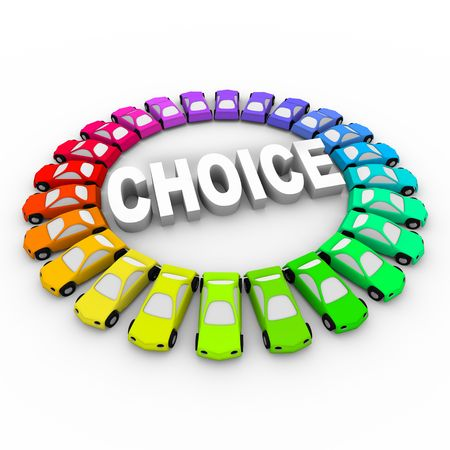 better: Cars of many different colors in ring around the word Choice Stock Photo