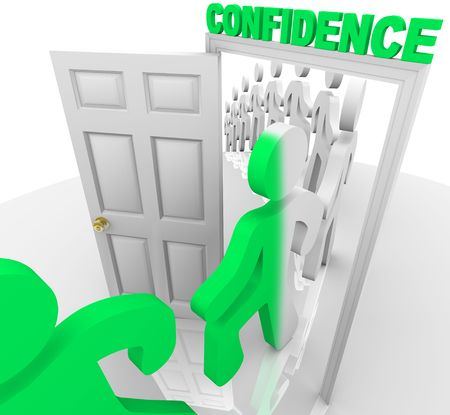 A line of people step through the confidence doorway and become transformed photo
