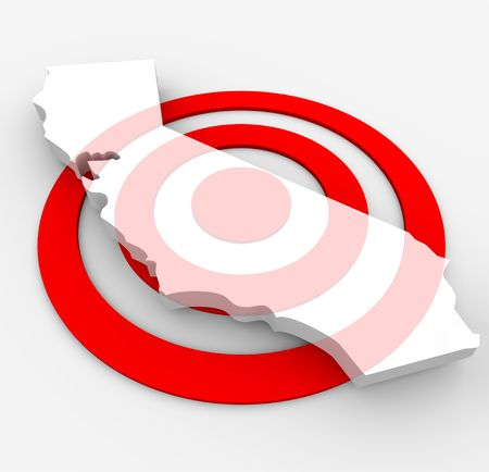 honing: A red bulls-eye with a map of California state on it
