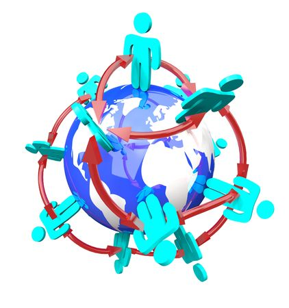 A network of people connected by arrows standing on planet Earth Stock Photo - 6582556