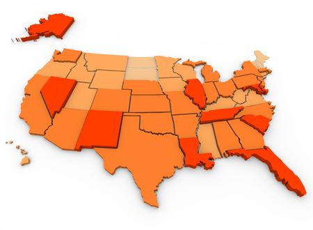 capita: A 3d map of the United States, showing the states with the most violent crimes per capita in dark orange, and the states with the least in very light orange