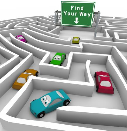 direction signs: Many colored cars lost in a maze, and a sign marked Find Your Way helps point the way