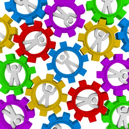 cooperate: Many people turning in different colored gears symbolizing teamwork and synergy