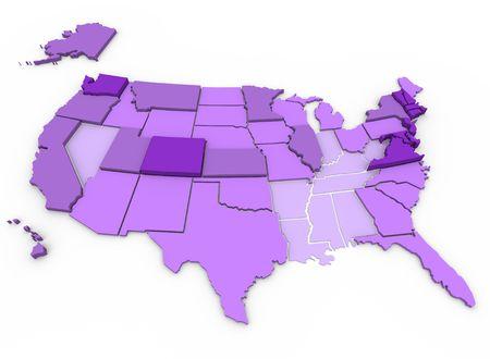 25 세 이상 시민의 비율을 보여주는 학사 학위 또는 주정부 별 고등 교육지도. 진한 보라색이 가장 높으며 (27.5 % 이상) 가장 밝은 보라색이 가장 낮습니