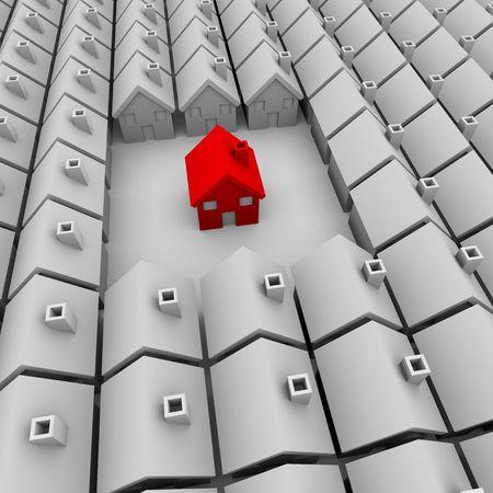 housing search: Una singola casa rossa si trova a prescindere da molte case bianche  Archivio Fotografico