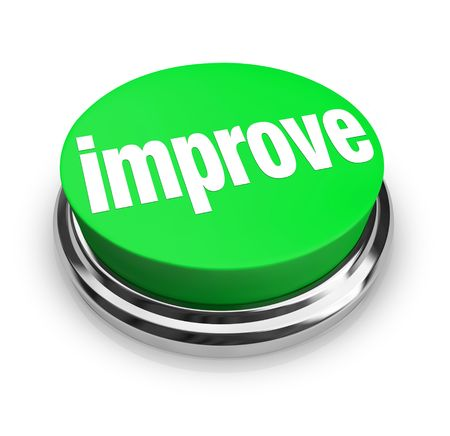 self service: A green button with the word Improve on it