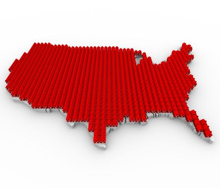 overpopulated: A US map covered in red houses, symbolizing overcrowding