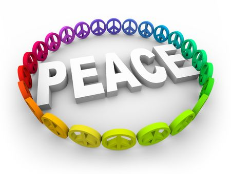 peace and love: Many colorful peace symbols surround the word in a circle Stock Photo