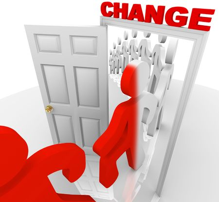 A line of people step through the change doorway and become transformed