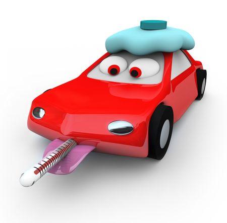 Een rode auto is broken down en needing help, met een thermometer in haar mond en het uitvoeren van een koorts