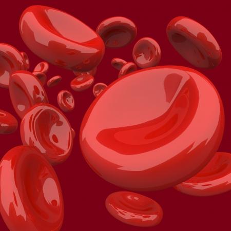 red blood cell: Muchas c�lulas de la sangre que fluye sobre un fondo rojo