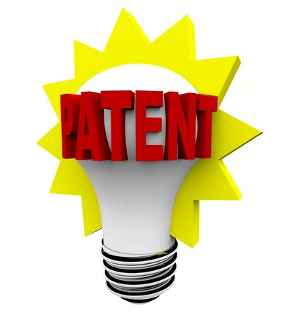 The word Patent in red letters on a light bulb photo